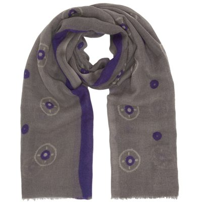 purple circle print wool scarf
