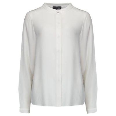 ivory silk collarless shirt