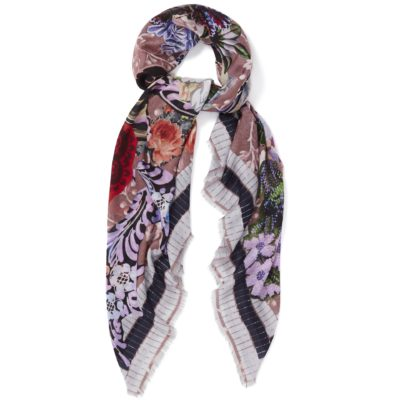women's multi coloured square scarf marble – Decoupage