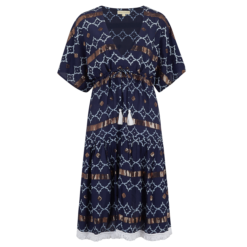 f49be7586e Destellos Navy dress - Cleverly Wrapped