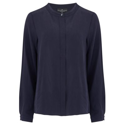 navy silk collarless shirt