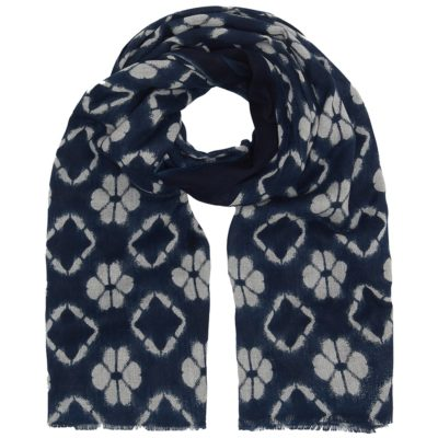 flower print cotton twill navy scarf