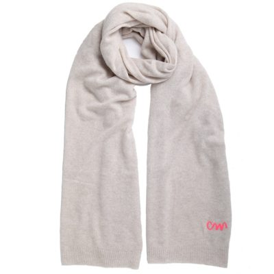 oatmeal classic cashmere scarf with pink logo