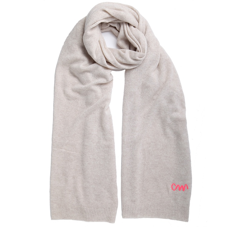 d8916fcb1300f oatmeal classic cashmere scarf with pink logo - Cleverly Wrapped