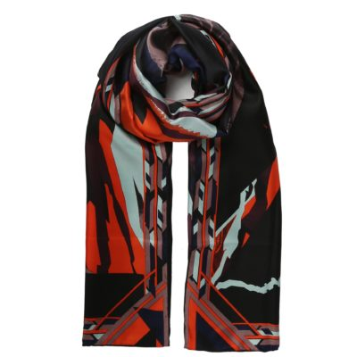 multi-coloured silk scarf in glacier print