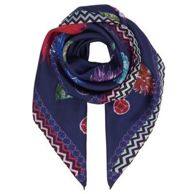 purple floral silk scarf- flatlay