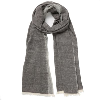 women's charcoal grey cashmere scarf – Herringbone Weave