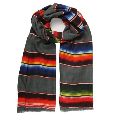 grey striped wool scarf – San Antonio