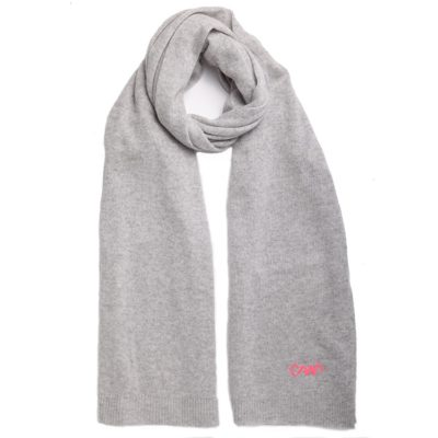 heather grey classic cashmere scarf with pink logo