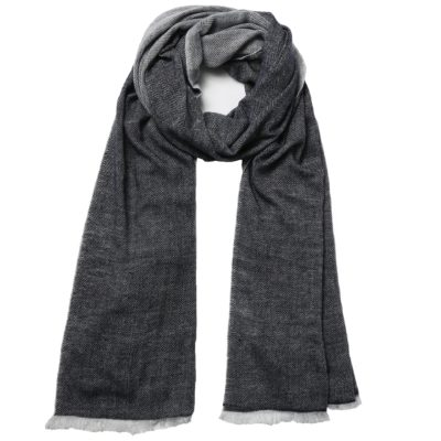 women's navy cashmere scarf – Herringbone Weave
