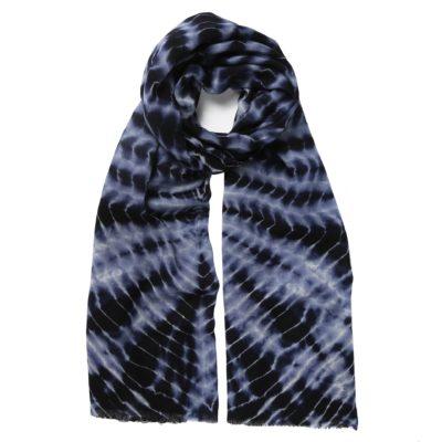 navy tie dye wool scarf