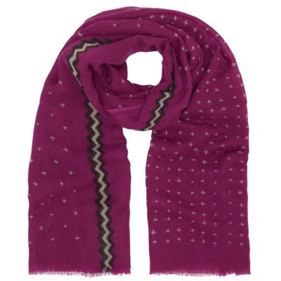 pink cross print wool scarf