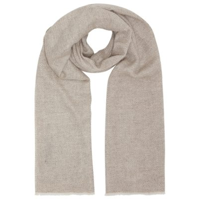 men's beige big herringbone wool blend scarf
