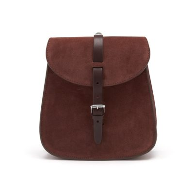 chocolate suede cross body bag