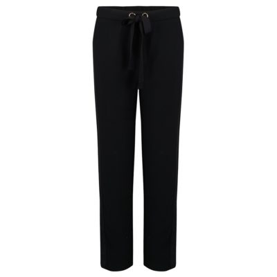 black side striped drawstring trousers