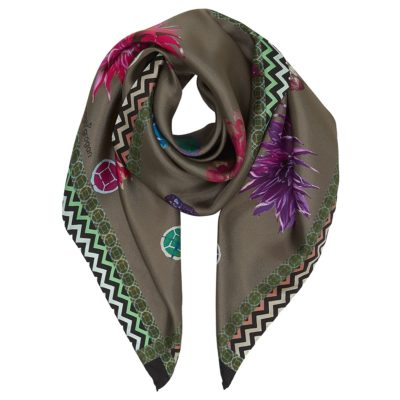 Khaki floral silk scarf – flatlay