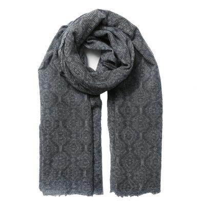men's navy woven scarf