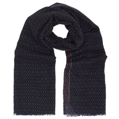 navy hand stitched wool scarf