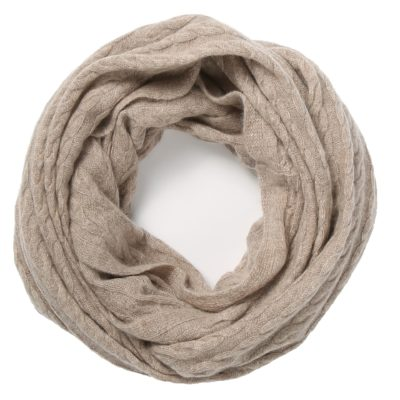 taupe cashmere snood in cable knit